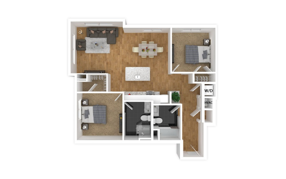 Amber - 2 bedroom floorplan layout with 2 baths and 936 square feet.