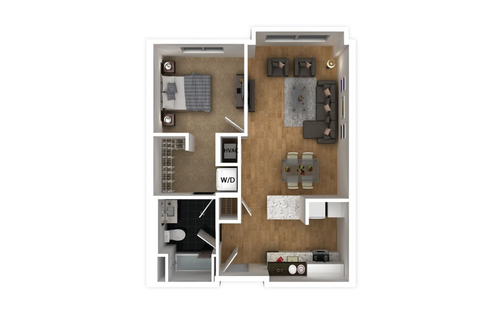Aqua - 1 bedroom floorplan layout with 1 bath and 600 square feet.