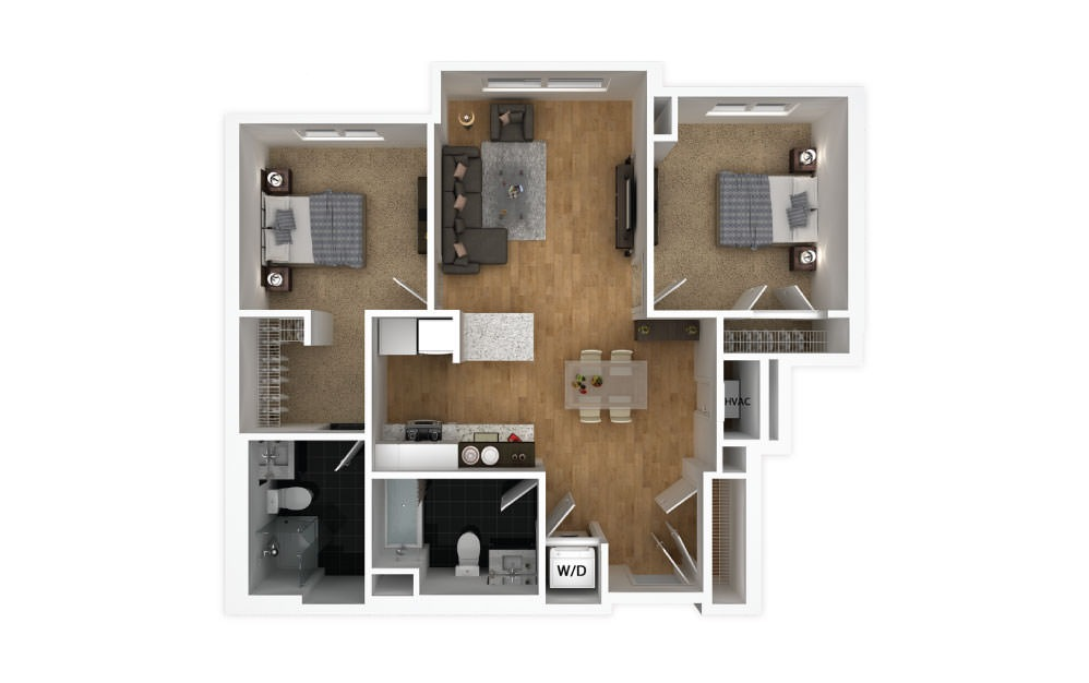 Blush - 2 bedroom floorplan layout with 2 baths and 889 square feet.