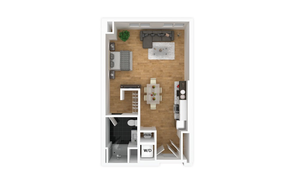 Cerulean - Studio floorplan layout with 1 bath and 484 square feet.