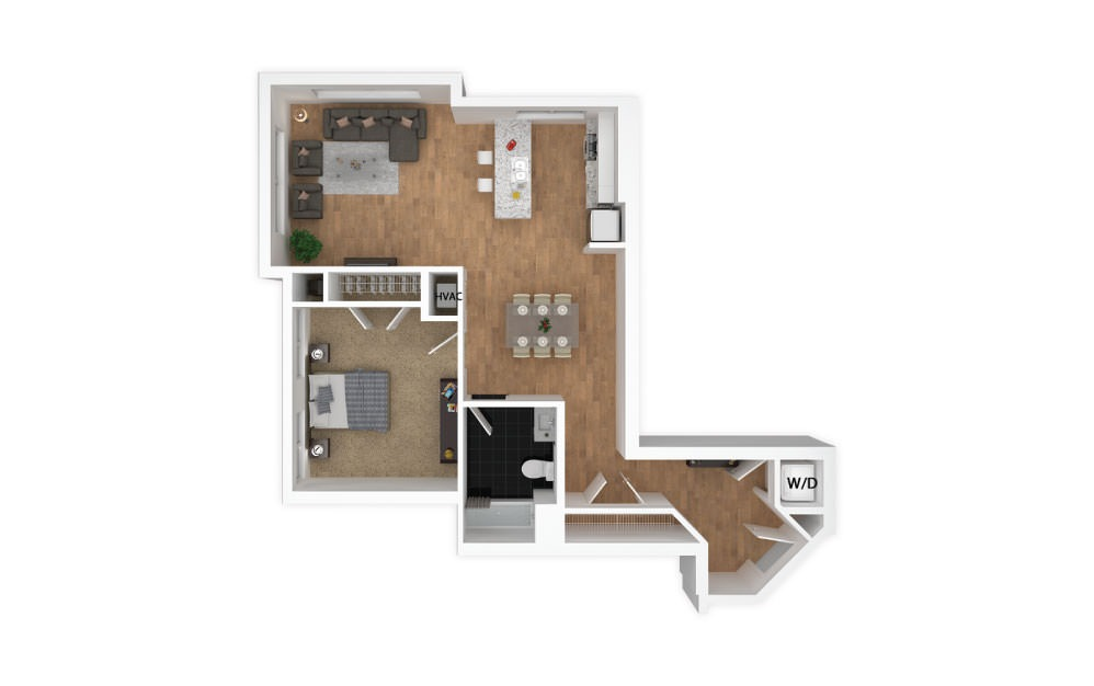 Chrome - 1 bedroom floorplan layout with 1 bath and 752 square feet.