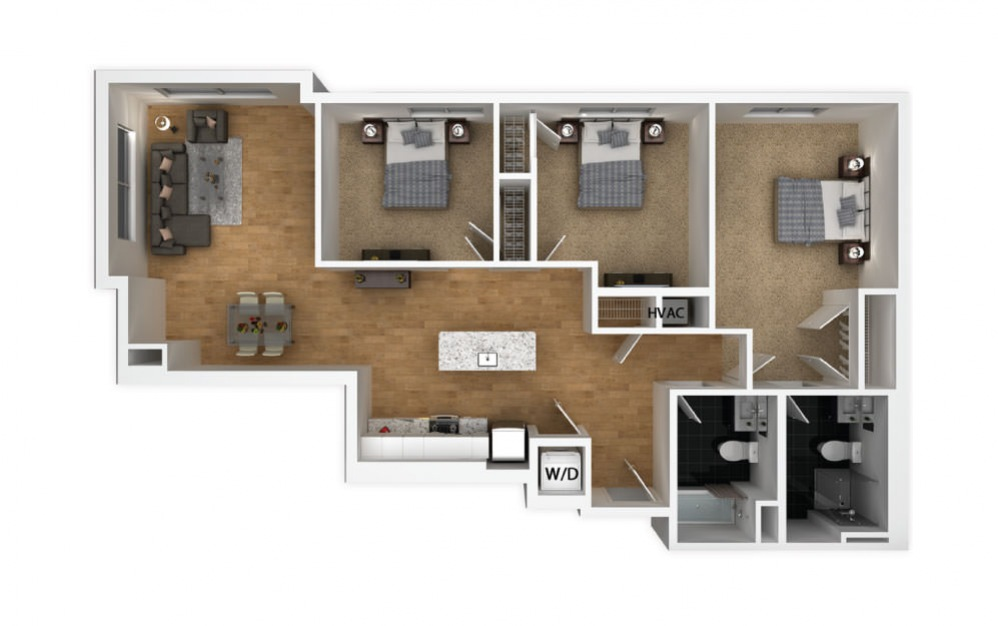 Copper - 3 bedroom floorplan layout with 2 baths and 1222 square feet.