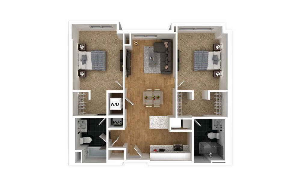 Crimson - 2 bedroom floorplan layout with 2 baths and 896 square feet.