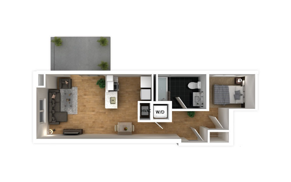 Cyan - Studio floorplan layout with 1 bath and 493 square feet.