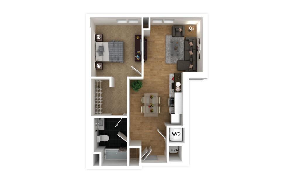 Ebony - 1 bedroom floorplan layout with 1 bath and 562 square feet.