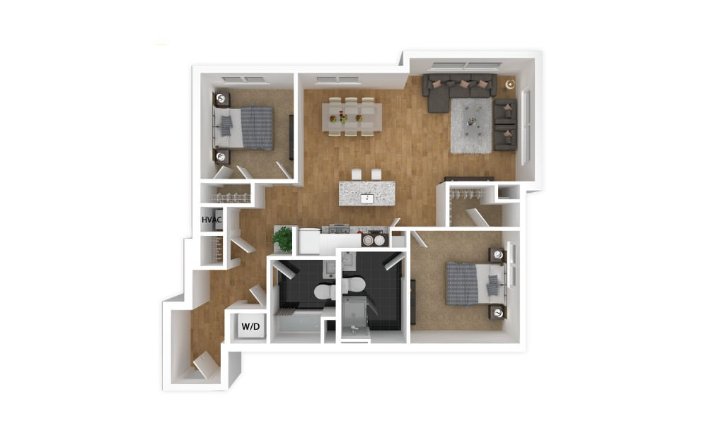 Emerald - 2 bedroom floorplan layout with 2 baths and 928 square feet.