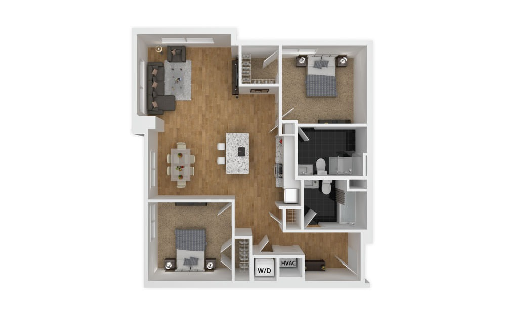 Fuschia - 2 bedroom floorplan layout with 2 baths and 904 square feet.
