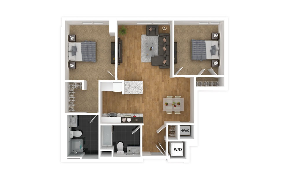 Gold - 2 bedroom floorplan layout with 2 baths and 846 square feet.