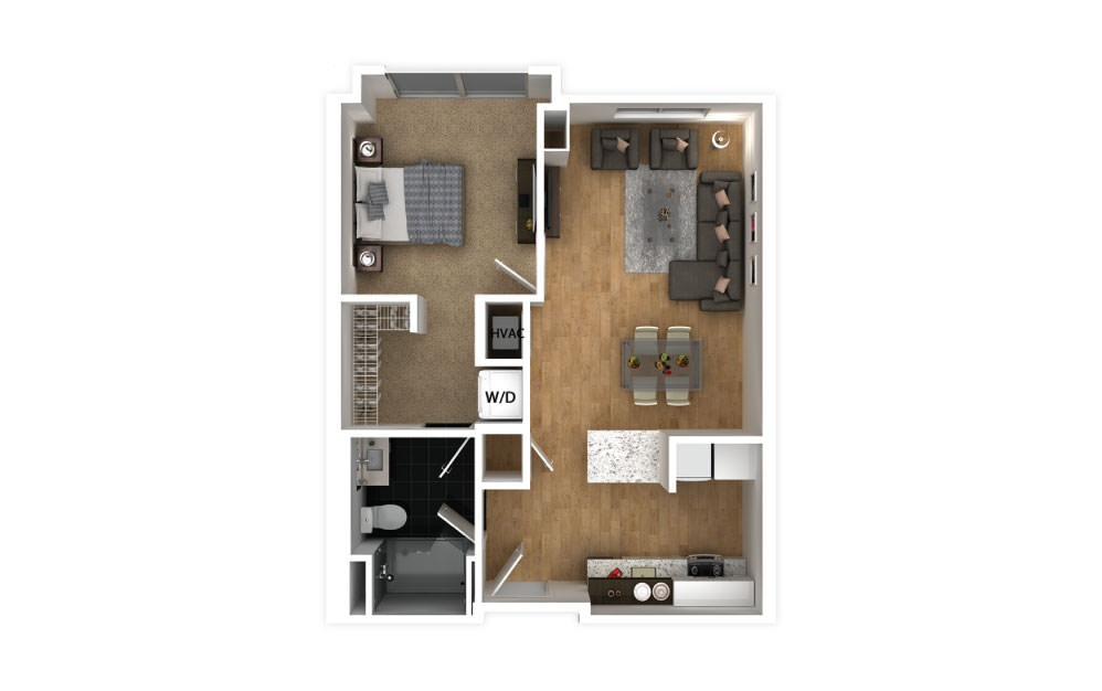 Indigo - 1 bedroom floorplan layout with 1 bath and 600 square feet.
