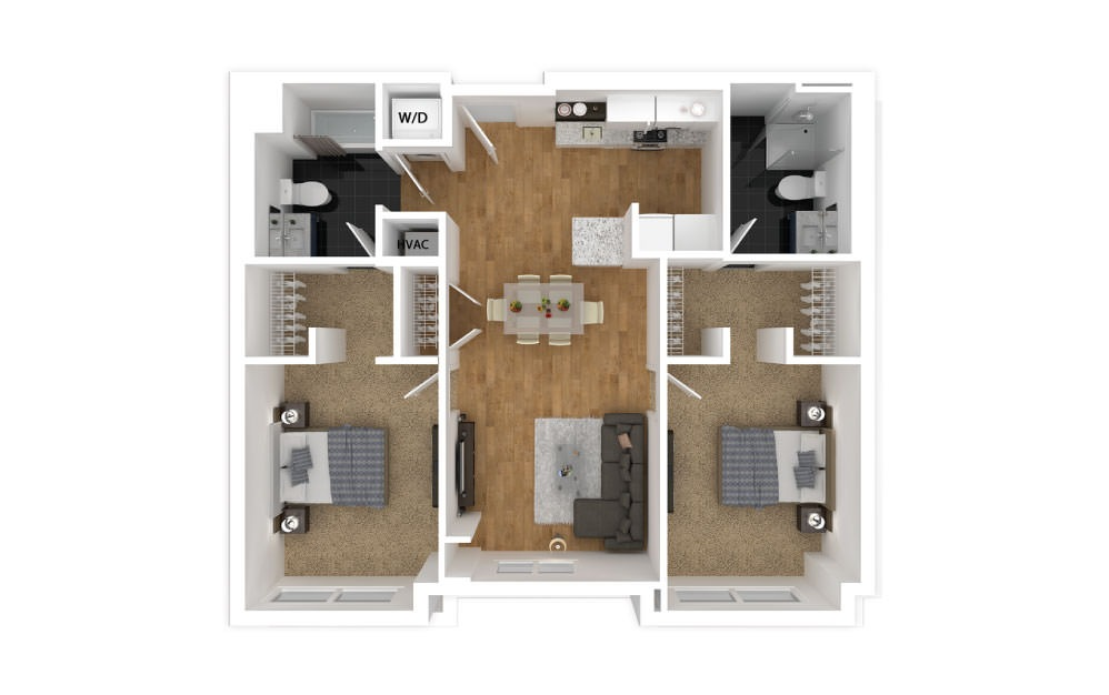Lavender - 2 bedroom floorplan layout with 2 baths and 904 square feet.