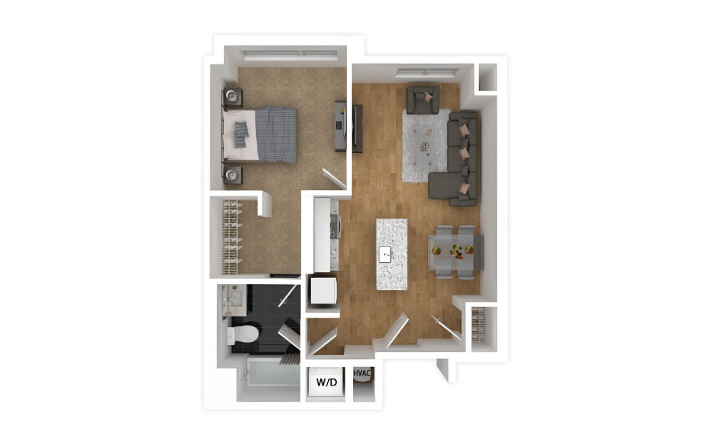 Magenta - 1 bedroom floorplan layout with 1 bath and 572 square feet.