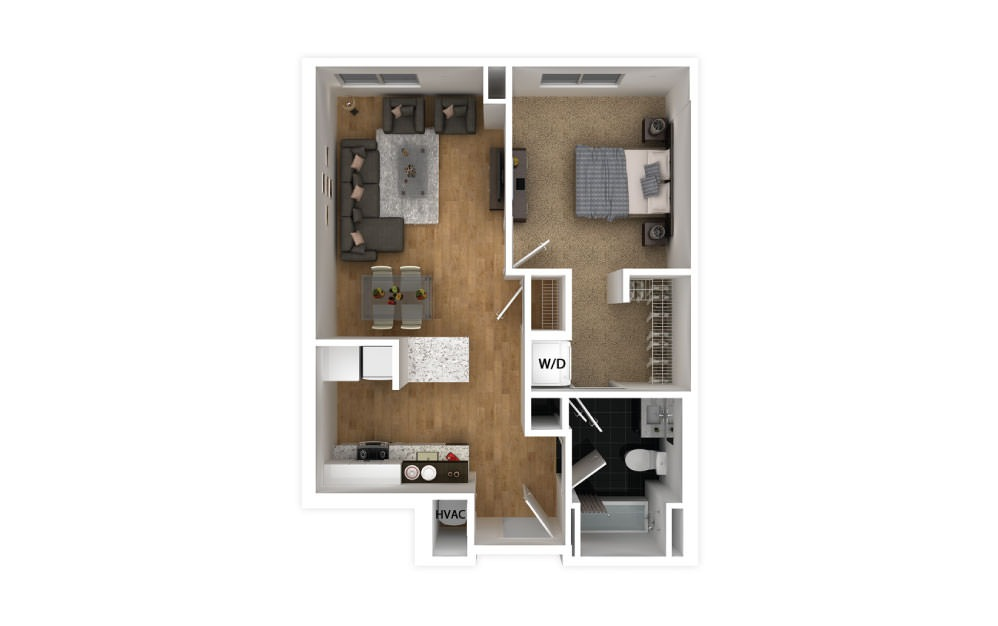 Maroon - 1 bedroom floorplan layout with 1 bath and 605 square feet.
