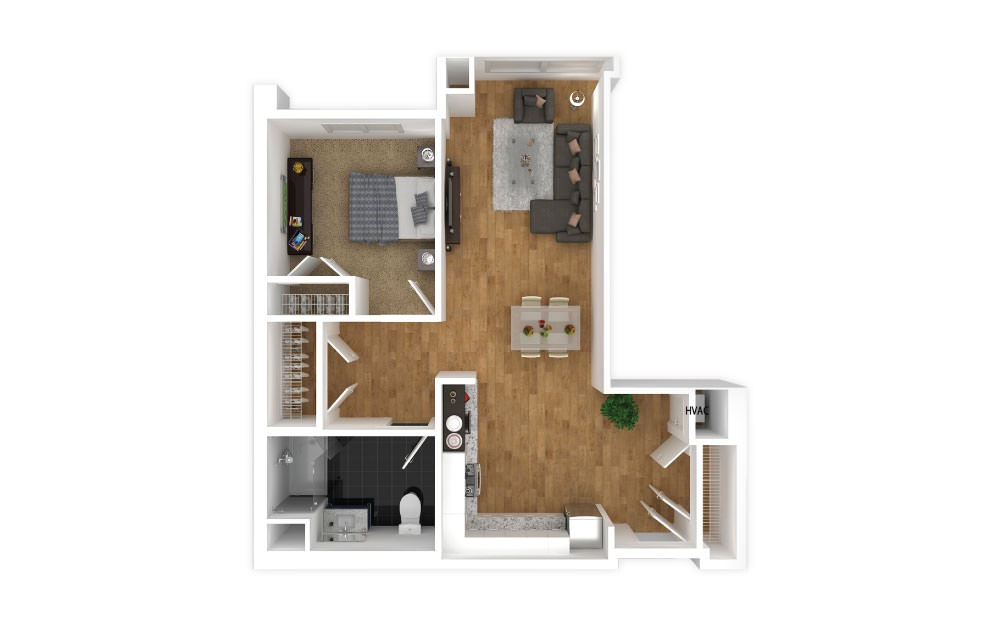 Mauve - 1 bedroom floorplan layout with 1 bath and 674 square feet.