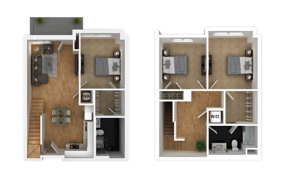 Silver - 3 bedroom floorplan layout with 2 baths and 1230 square feet.
