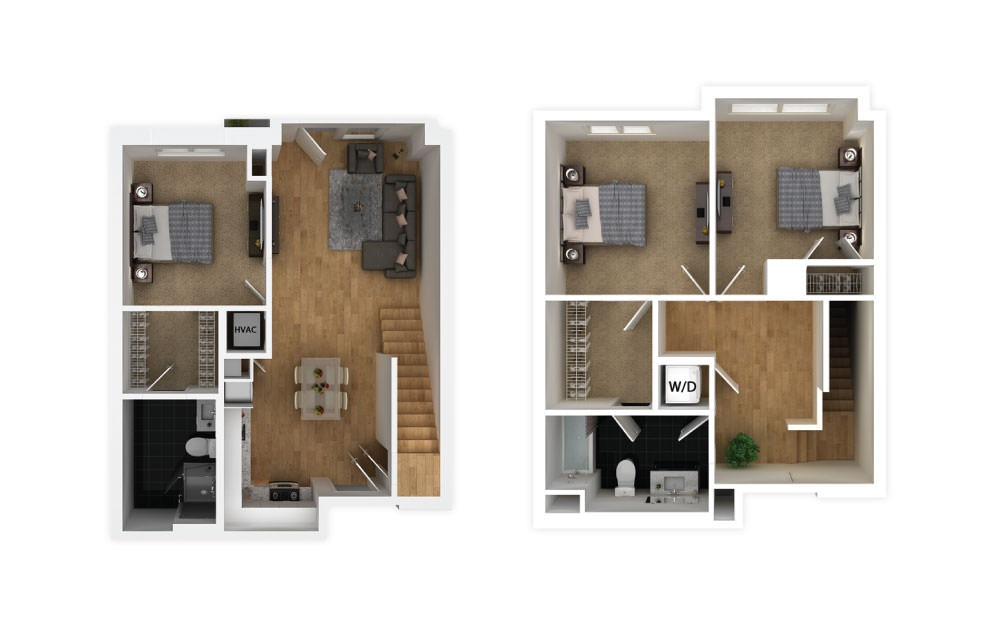 Slate - 3 bedroom floorplan layout with 2 baths and 1182 square feet.