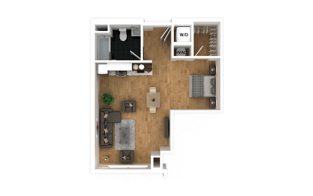 Teal - Studio floorplan layout with 1 bath and 519 square feet.