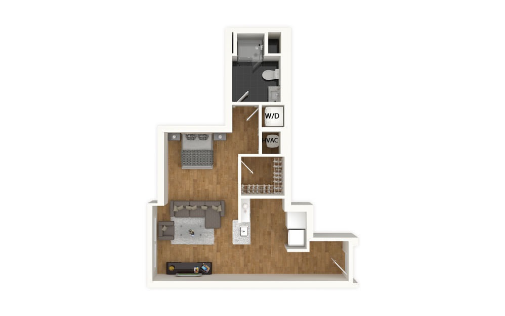 Turquoise - Studio floorplan layout with 1 bath and 493 square feet.