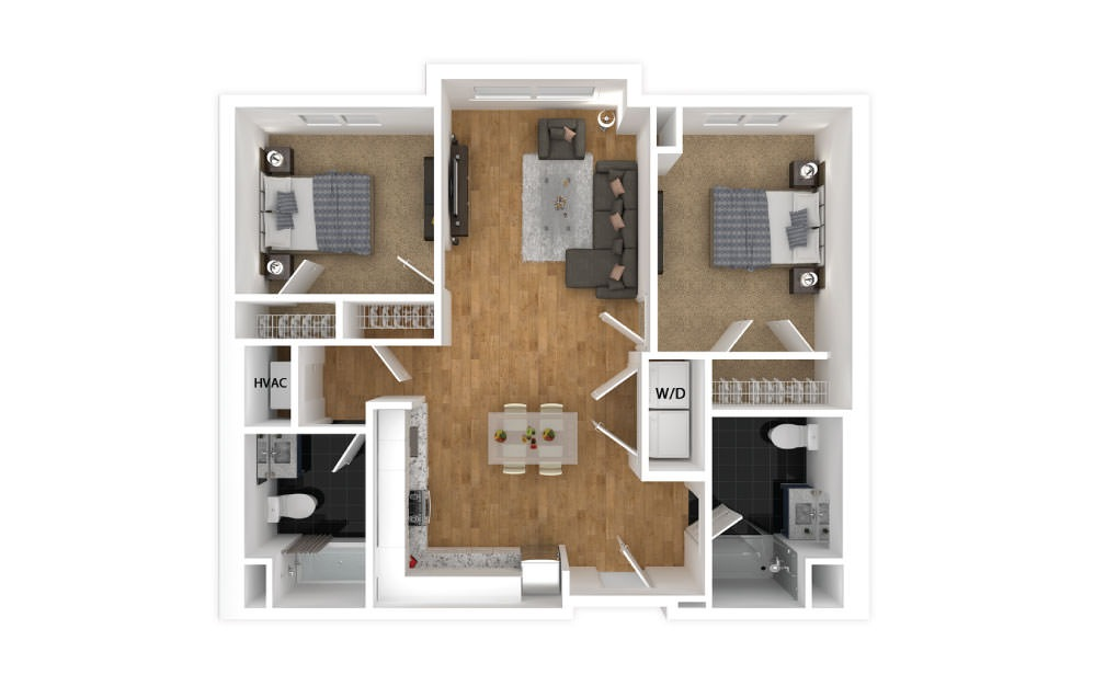 Violet - 2 bedroom floorplan layout with 2 baths and 889 square feet.